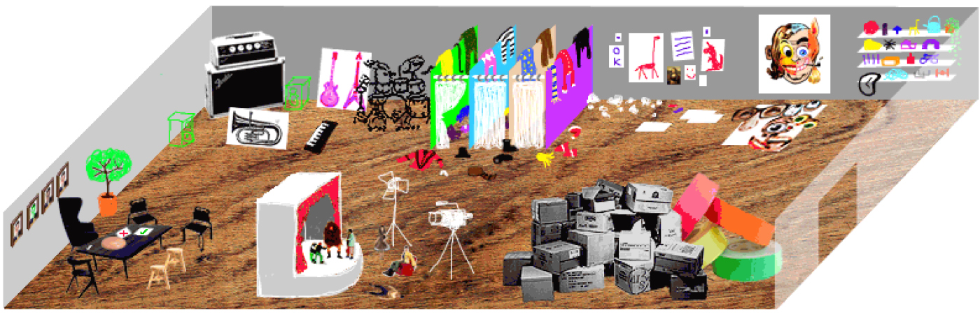 PlayLab's creative play space, immersive free creativity, arts workshop, multi-media playfulness, Paul Pethick.